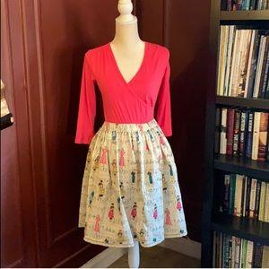Mid Rise Flare Skirt